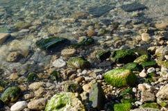 Rochas molhadas pelo mar fotografia de stock