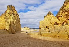 Rochas naturais em Lagos Portugal Foto de Stock Royalty Free