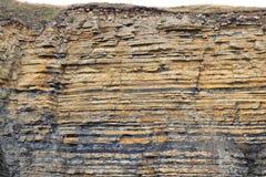 Rochas sedimentares no camada-estrato, estratos Fotografia de Stock