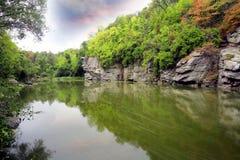 Rochas sobre o rio na floresta verde Foto de Stock Royalty Free