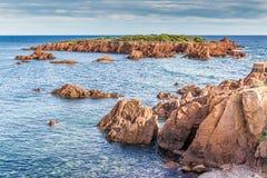 Rochas vermelhas de Esterel Riviera Maciço-francês, França Imagens de Stock Royalty Free