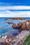 Rochas vermelhas de Esterel Riviera Maciço-francês, França Imagem de Stock Royalty Free