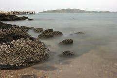 Roche à une plage Photo stock