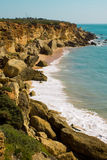 Roche in Cadiz - Coastline. One of the many coves of Roche, Cadiz, on the south coast of Spain stock images