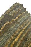 Roche composée de disques de fossile avec des formations du type de flysch de l'UNESCO Basque paléocène d'itinéraire de Geopark J Image libre de droits