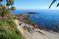 Roche d'oiseau à marée basse outre de parc de Heisler Plage de Laguna, la Californie Photographie stock libre de droits