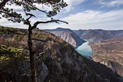 Roche de Banjska de point de vue à la montagne Tara regardant vers le bas au canyon de la rivière de Drina, Serbie occidentale Photos stock