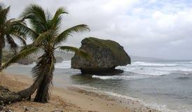 Roche de champignon sur une plage Image libre de droits