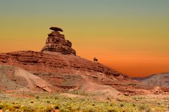 Roche de chapeau mexicain dans le chapeau mexicain, Utah Etats-Unis photos libres de droits