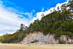 Roche de grès sur la plage Image libre de droits