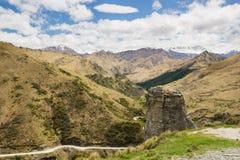 Roche de phare en canyon de capitaines, Nouvelle-Zélande Photos stock