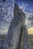 Roche de Teter au coucher du soleil, Flint Hills, le Kansas Photo libre de droits