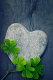Roche en forme de coeur grise avec quatre oxalidex petite oseille sur un backrgo de tuile Images libres de droits