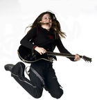 roche femelle de guitariste d'adolescent images libres de droits