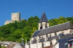 Roche-Guyon keep and church Stock Photography