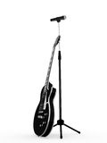 roche noire de microphone de guitare Photographie stock