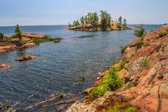 Roche rouge au Canada d'Ontario de baie géorgienne Images libres de droits