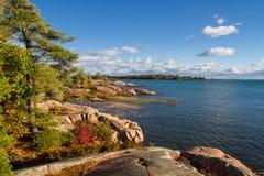 Roche rouge au Canada d'Ontario de baie géorgienne Photos libres de droits