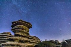 Roche schisteuse la nuit en parc naturel d'EL Torcal images libres de droits