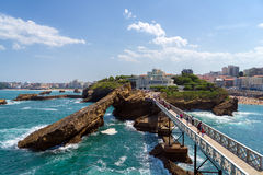 ` Rocher DE La Vierge ` & Aquarium DE Biarritz Royalty-vrije Stock Foto