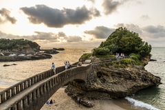 Rocher du Basta, Biarritz, France. Biarritz, France. The Rocher du Basta, a scenic rock and major landmark in the coast of Biarritz, at sunset royalty free stock photo