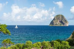 Rocher du Diamant Diamond岩石在马提尼克岛 库存图片
