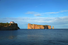 Rocher perce in Gaspesie, Quebec. Beautiful view of The Rocher Perce in Perce city, gaspesie in Quebec province Royalty Free Stock Image