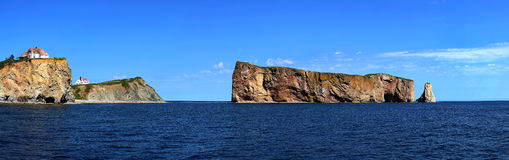 Rocher perce in Gaspesie, Quebec. Panoramic of The Rocher Perce in Perce city, Gaspesie in Quebec province Royalty Free Stock Photo