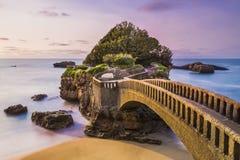 Rocheren du Basta i Biarritz, Frankrike Arkivfoton