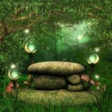 Roches avec les lanternes magiques Images libres de droits