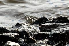 Roches côtières sur le fond de vague Photographie stock libre de droits