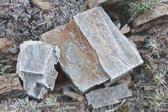 Roches congelées au sol Détail extérieur de nature de matin frais photos libres de droits