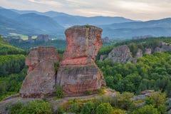 Roches de Belogradchik au coucher du soleil Photographie stock