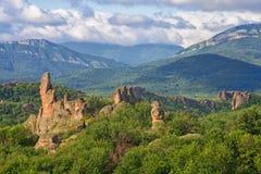 Roches de Belogradchik pendant le début de la matinée Photographie stock libre de droits