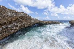 Roches de Boka Tabla, Curaçao Photos stock