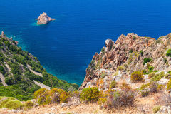 Roches de capo Rosso, région de Piana, Corse images libres de droits