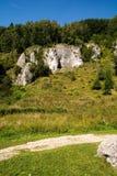 Roches de chaux en vallée de Kobylanska (Pologne) Images libres de droits