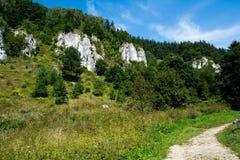 Roches de chaux en vallée de Kobylanska (Pologne) Image stock