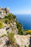 Roches de falaise chez Angelokastro Photographie stock libre de droits