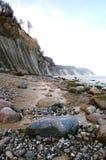 Roches de falaise de craie d'île de Rugen au parc national Jasmund Images stock