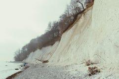 Roches de falaise de craie d'île de Rugen au parc national Jasmund Image libre de droits