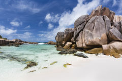 Roches de granit, La Digue, Seychelles Photos libres de droits