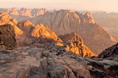 Roches de panorama de mont Sinaï dans le début de la matinée Images libres de droits