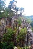 Roches de Prachov de falaises de grès dans la République Tchèque Images stock