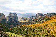 Roches et monastères de Meteora en Grèce Images libres de droits