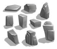 Roches et pierres Pierres et roches de bande dessinée dans le style isométrique Ensemble de différents rochers Image stock
