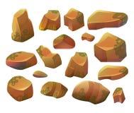 Roches et pierres Pierres et roches de bande dessinée dans le style isométrique Ensemble de différents rochers Image libre de droits