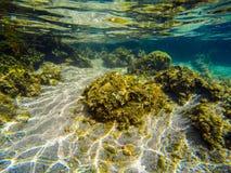 Roches et sable sous-marins en Sardaigne Images stock