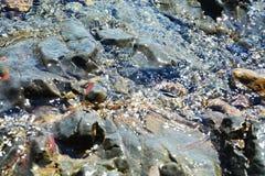 Roches, pierres bleues dures, minerais de l'eau, fond abstrait Image stock