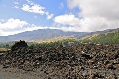 Roches plutoniques sur les pentes du mont Etna, Sicile Photographie stock libre de droits